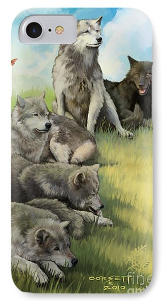 IPhone Case featuring the painting Wolf Gathering Lazy by Rob Corsetti