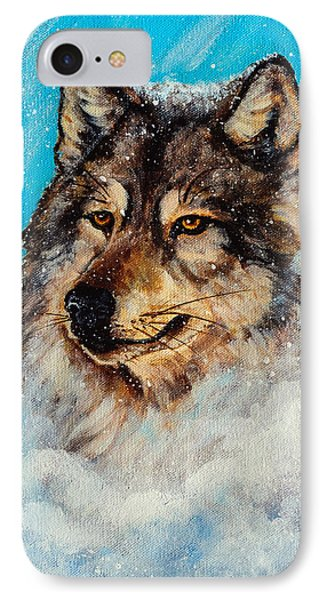 IPhone Case featuring the painting Wolf In A Snow Storm by Bob and Nadine Johnston