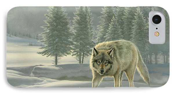 Wolf In Fog    IPhone Case by Paul Krapf