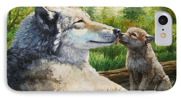 Wolf Painting - Spring Kisses Phone Case by Crista Forest