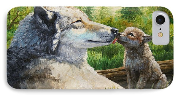 Wolf Painting - Spring Kisses IPhone Case by Crista Forest