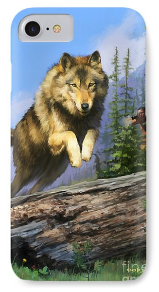 IPhone Case featuring the painting Wolf Run Indian Hunter by Rob Corsetti