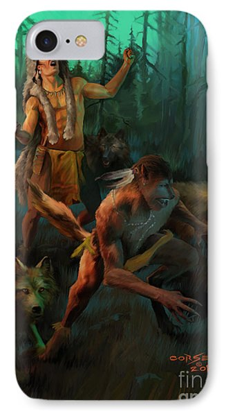 IPhone Case featuring the painting Wolf Warriors Change by Rob Corsetti