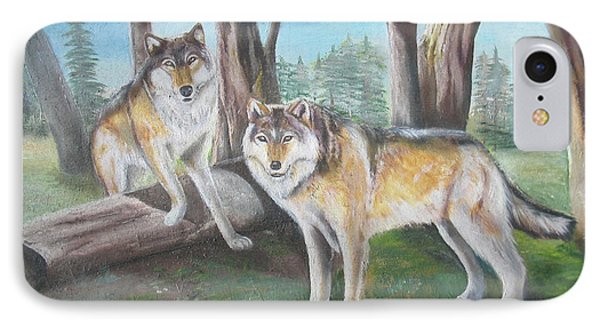 IPhone Case featuring the painting Wolves In The Forest by Thomas J Herring