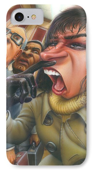Woman About To Sneeze In Elevator - Flu Season - Sneezing - Common Cold - Humorous - Illustration IPhone Case by Walt Curlee