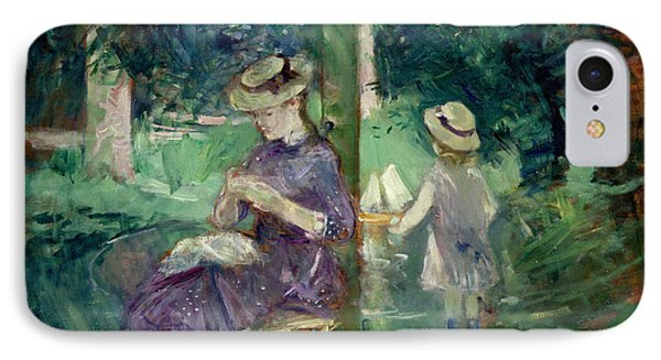 Woman And Child In A Garden IPhone Case by Berthe Morisot