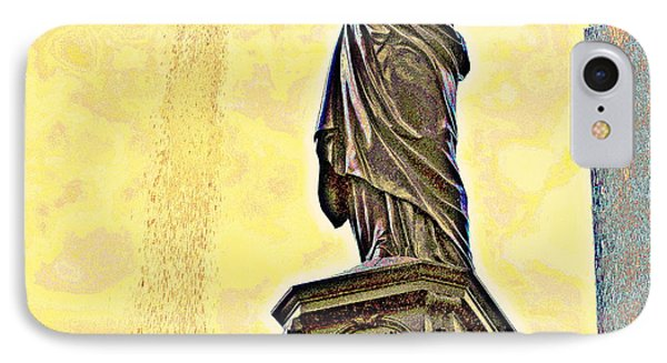 Woman And Flowing Water Sculpture At Fountain Square IPhone Case by Kathy Barney