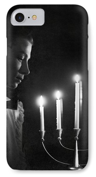 Woman And Menorah IPhone Case by Underwood Archives