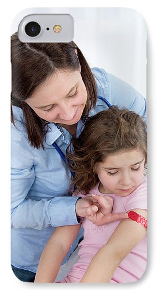 Woman Applying Plaster To Girl's Arm IPhone Case