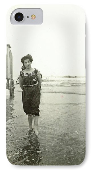 Woman At A Bathing Machine North Sea, The Netherlands Or IPhone Case