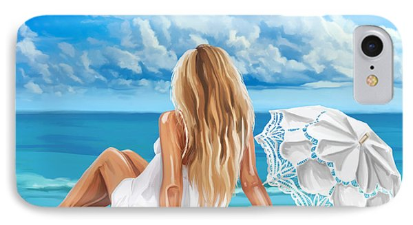 Woman At The Beach IPhone Case by Tim Gilliland