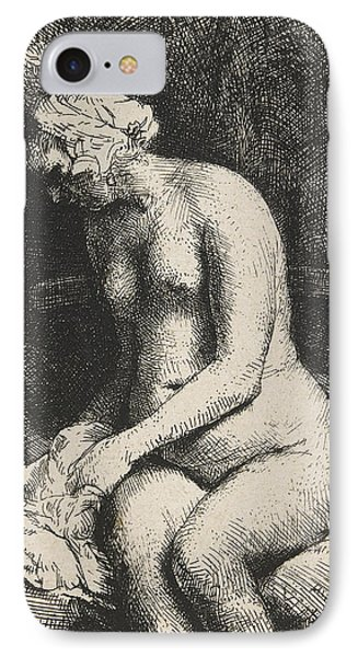 Woman Bathing Her Feet At A Brook IPhone Case by Rembrandt