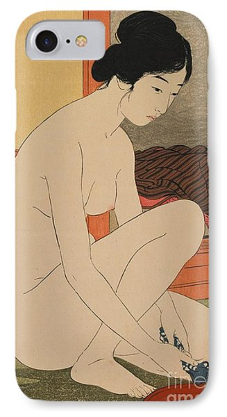 Woman Bathing Taisho Era IPhone Case by Goyo Hashiguchi
