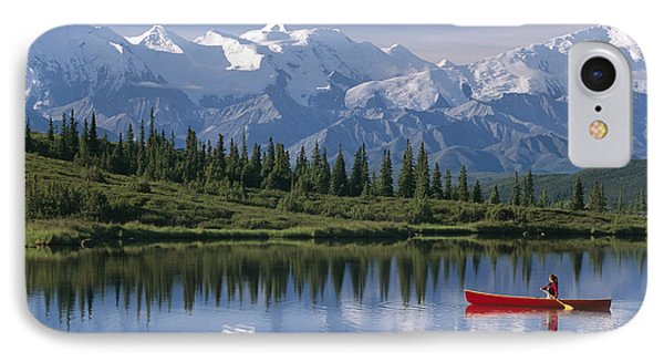 Woman Canoeing In Wonder Lake Alaska Phone Case by Michael DeYoung