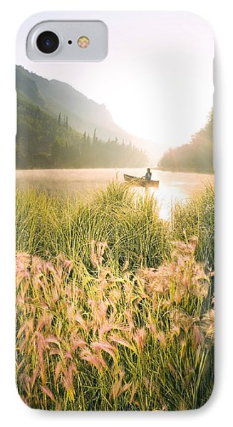 Woman Canoeing On Long Lake In Early IPhone Case by Michael DeYoung