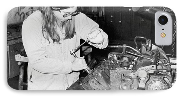 Woman Car Mechanic IPhone Case by Underwood Archives