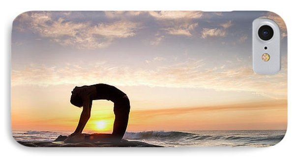 Woman Doing Yoga Camel Pose IPhone Case by Panoramic Images