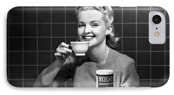 Woman Drinking Nescafe IPhone Case by Underwood Archives