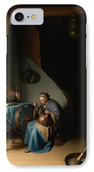 Woman Eating Porridge IPhone Case by Gerard Dou
