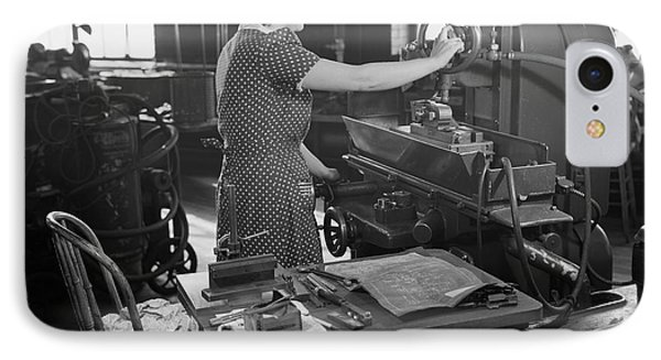 Woman Factory Worker Operating Machine IPhone Case by Stocktrek Images