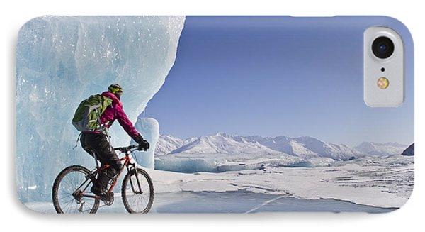 Woman Fat Tire Mountain Biking On Ice IPhone Case