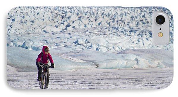 Woman Fat Tire Mountain Biking On The IPhone Case