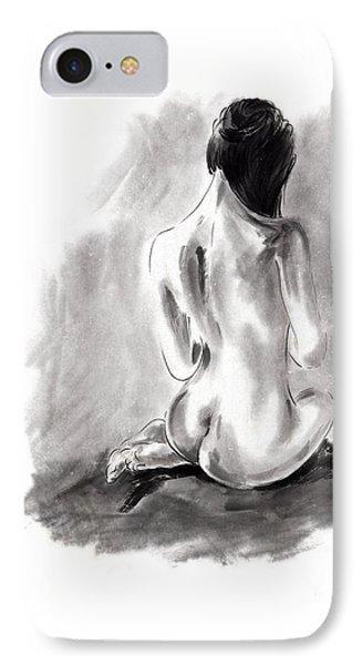 Woman Geisha Erotic Act Beautiful Girl  Japanese Ink Painti IPhone Case by Mariusz Szmerdt