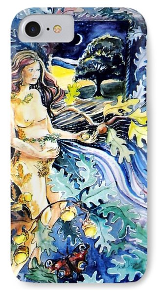 Woman Holding An Acorn -  IPhone Case by Trudi Doyle