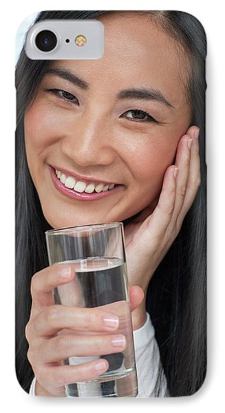 Woman Holding Glass Of Water IPhone Case