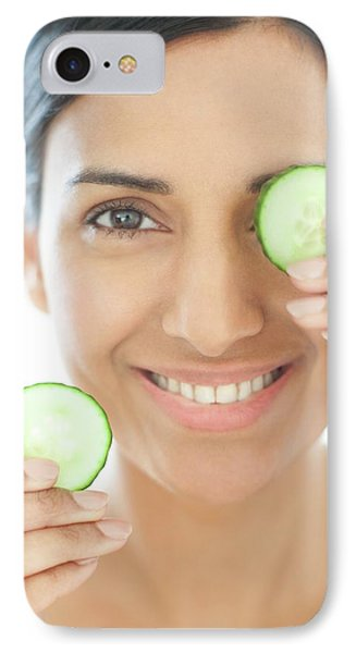 Woman Holding Slices Of Cucumber IPhone Case