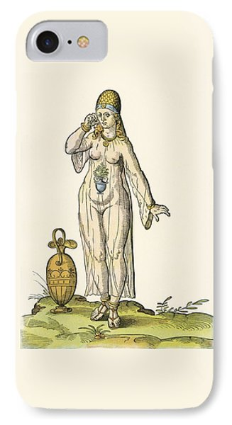 Woman In A Bathing Costume, After A 16th Century Woodcut By Josh Aman IPhone Case