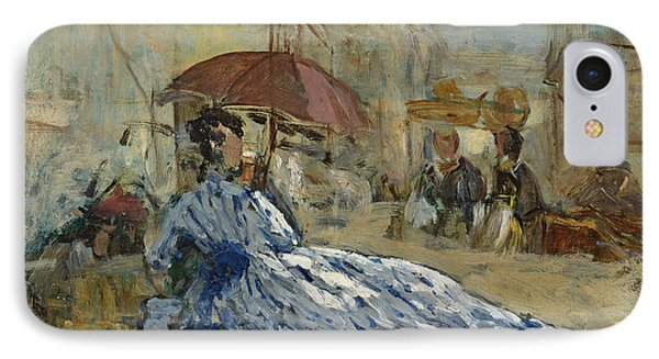 Woman In A Blue Dress Under A Parasol IPhone Case by Eugene Louis Boudin