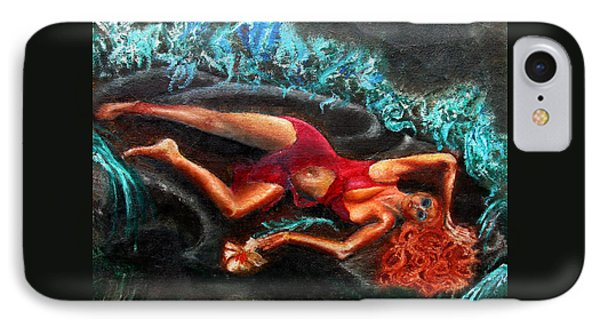 Woman In A Red Dress Holding A Flower IPhone Case by Tom Conway