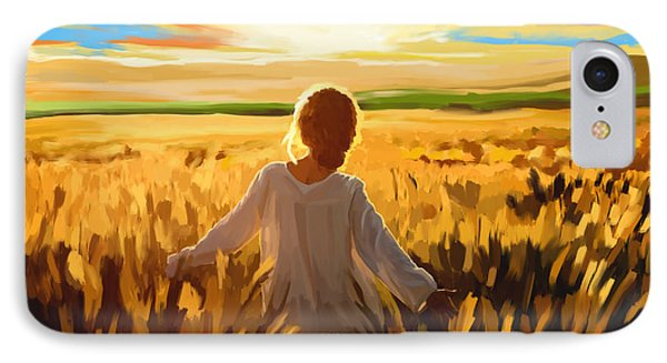 Woman In A Wheat Field IPhone Case by Tim Gilliland