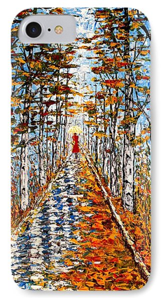 Woman In Red In Fall Rainy Day IPhone Case