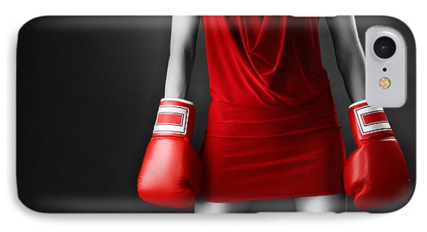 Woman In Sexy Red Dress Wearing Boxing Gloves IPhone Case by Oleksiy Maksymenko