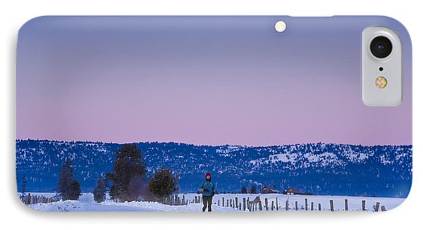 Woman Jogging In Winter On Rural Road IPhone Case