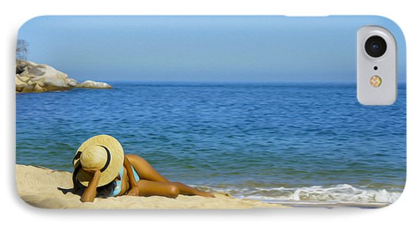 Woman Lying On The Beach IPhone Case