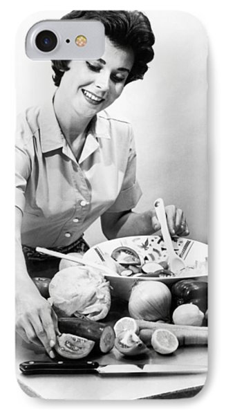Woman Making A Salad IPhone Case by Underwood Archives