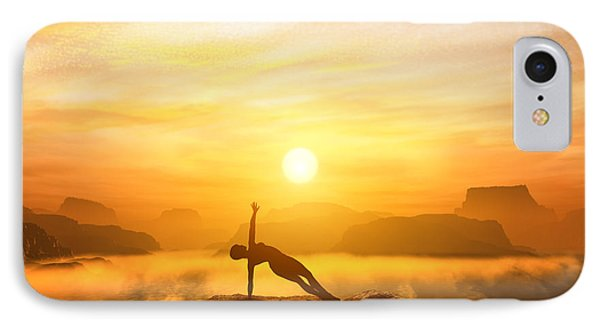 Woman Meditating In Mountains IPhone Case by Michal Bednarek