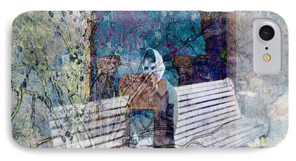 IPhone Case featuring the digital art Woman On A Bench by Cathy Anderson