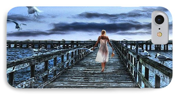 Woman On Pier IPhone Case by Terence Morrissey