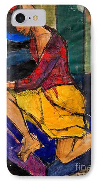 Woman On Purple Pillow - Pia #3 - Figure Series IPhone Case by Mona Edulesco