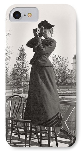 IPhone Case featuring the photograph Woman Photographer 1898 by Martin Konopacki Restoration
