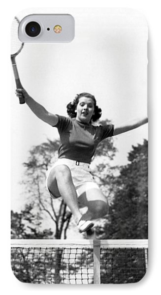 Woman Player Leaping Over Net IPhone Case by Underwood Archives