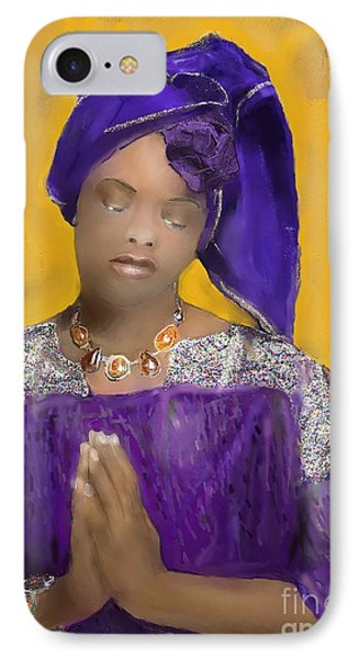 Woman Praying IPhone Case by Vannetta Ferguson