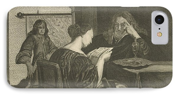 Woman Reading A Letter With A Man At The Table IPhone Case