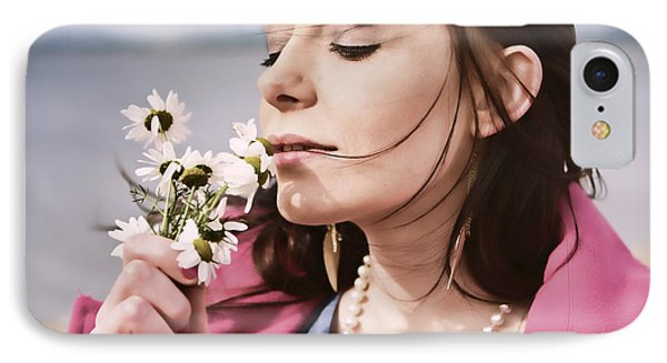Woman Scenting Daisies IPhone Case