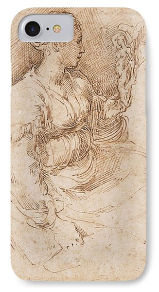 Woman Seated Holding A Statuette Of Victory, C.1524 Pen & Ink On Paper IPhone Case