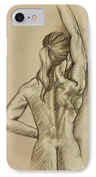IPhone Case featuring the drawing Woman Sketch by Rob Corsetti